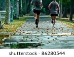 Live a healthy life, run every day with your friends - stock photo