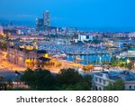Barcelona, Spain skyline at night. Horbor view - stock photo
