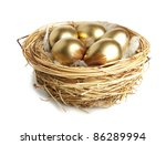 Golden egg in the nest  isolated - stock photo