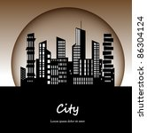 silhouette of the city at night | Shutterstock .eps vector #86304124