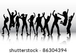 silhouettes of a group of party ... | Shutterstock .eps vector #86304394