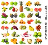 large page of fruits isolated... | Shutterstock . vector #86332186