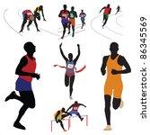 runners. set. vector... | Shutterstock .eps vector #86345569