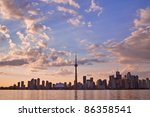 View of Toronto cityscape during sunset taken from Central Island. - stock photo
