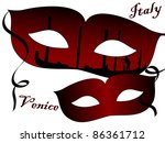 two red venetian carnival masks | Shutterstock .eps vector #86361712
