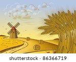 Wheat Fields Landscape. Vector