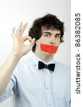 an image of a man with a tape... | Shutterstock . vector #86382085