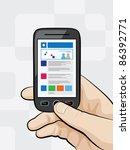 illustration of a smart phone... | Shutterstock .eps vector #86392771