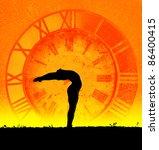 Small photo of Concept of yoga and time. Hasta Uttanasana pose from surya namaskar by Man in silhouette at clock background. Man is hands of clock representing ageless because of practice yoga