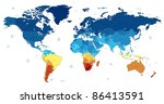 detailed world map of blue and... | Shutterstock . vector #86413591