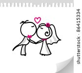 cartoon wedding couple on... | Shutterstock . vector #86415334