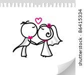 cartoon wedding couple on... | Shutterstock . vector #86415334