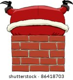 santa claus stuck in chimney ... | Shutterstock .eps vector #86418703