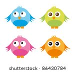 cute birds isolated over white... | Shutterstock .eps vector #86430784