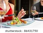 couple for romantic dinner or... | Shutterstock . vector #86431750