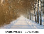 Rural Farm Road Covered In Sno...