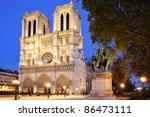 Notre Dame De Paris At Evening...