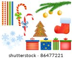 candy cane  gift box  pine tree ... | Shutterstock . vector #86477221