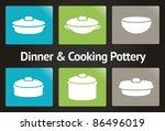 dinner   cooking pottery vector ... | Shutterstock .eps vector #86496019