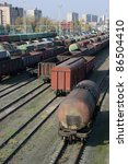 freight trains on city cargo...   Shutterstock . vector #86504410