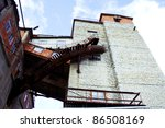 Abandoned coal mine building as frozen history decades - stock photo