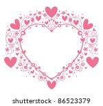 Pink heart frame - stock vector
