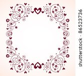 vintage hearts and flowers frame - stock vector