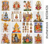collage with variety of asian religious symbols as: Lakshmi, Ganesha, Hanuman, Vishnu, Shiva, Parvati, Durga, Buddha, Rama,Krishna, - stock photo