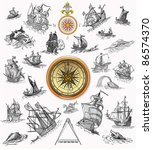 sailboats with compass... | Shutterstock . vector #86574370