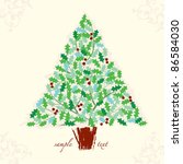 decorative christmas holly tree ... | Shutterstock .eps vector #86584030