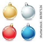 Set Of Christmas Balls On A...
