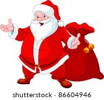 happy santa claus with sack of... | Shutterstock .eps vector #86604946