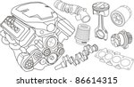set of car part contours | Shutterstock .eps vector #86614315