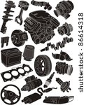set of car part silhouettes | Shutterstock .eps vector #86614318