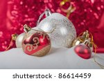 christmas balls with abstract holiday background - stock photo