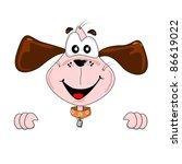 A Cartoon Dog Holding A Blank...