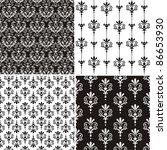 set of 4 damask seamless floral ... | Shutterstock .eps vector #86653930