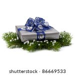 Silver gift box isolated on white background - stock photo