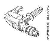 vector drill with handle | Shutterstock .eps vector #86670442