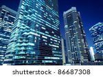 tall office buildings by night | Shutterstock . vector #86687308