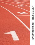 running track curve with lane... | Shutterstock . vector #86696164