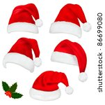 collection of red santa hats... | Shutterstock .eps vector #86699080