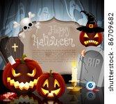 halloween card on forest...   Shutterstock .eps vector #86709682