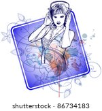 dj girl   music colors mix  ... | Shutterstock . vector #86734183