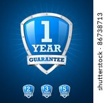 guarantee label shield on blue... | Shutterstock .eps vector #86738713