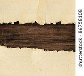 torn paper over the wooden... | Shutterstock . vector #86758108