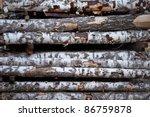 close up view of birch logs | Shutterstock . vector #86759878