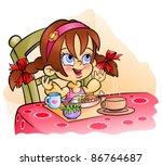 praying before dinner | Shutterstock .eps vector #86764687