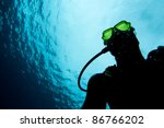 Diver underwater with reflection mask - stock photo