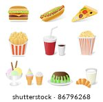Fast Food Set Isolated On The...